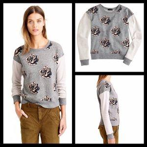 J. Crew floral rose pop art color block sweatshirt